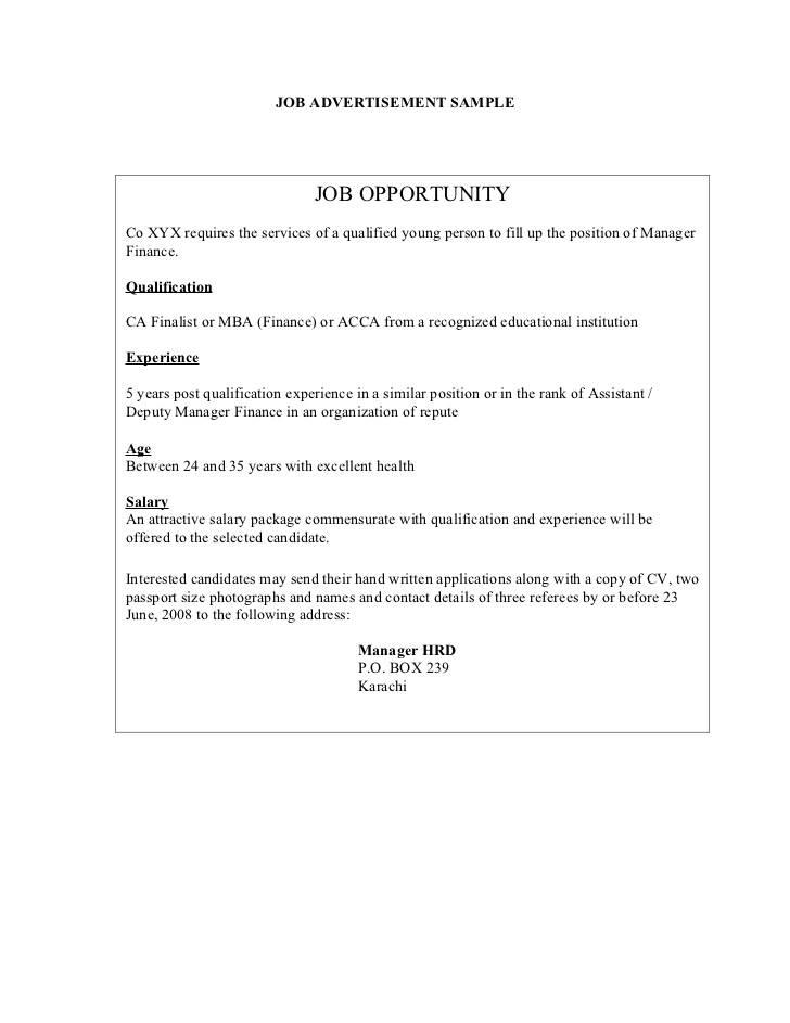 Job Advertisement Template In Malaysia