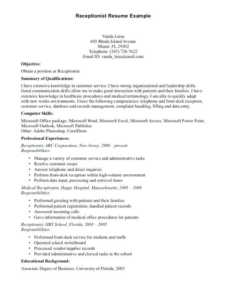 Job Description Template For Dental Receptionist