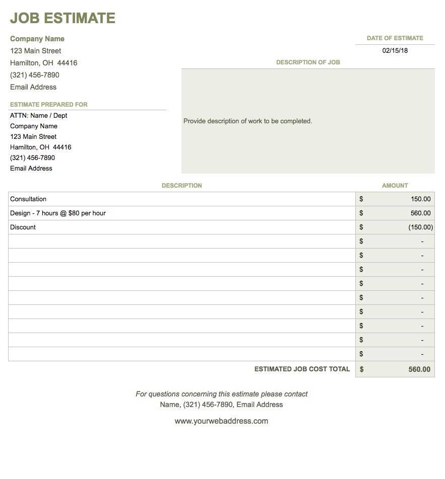 Job Estimate Template Google Docs