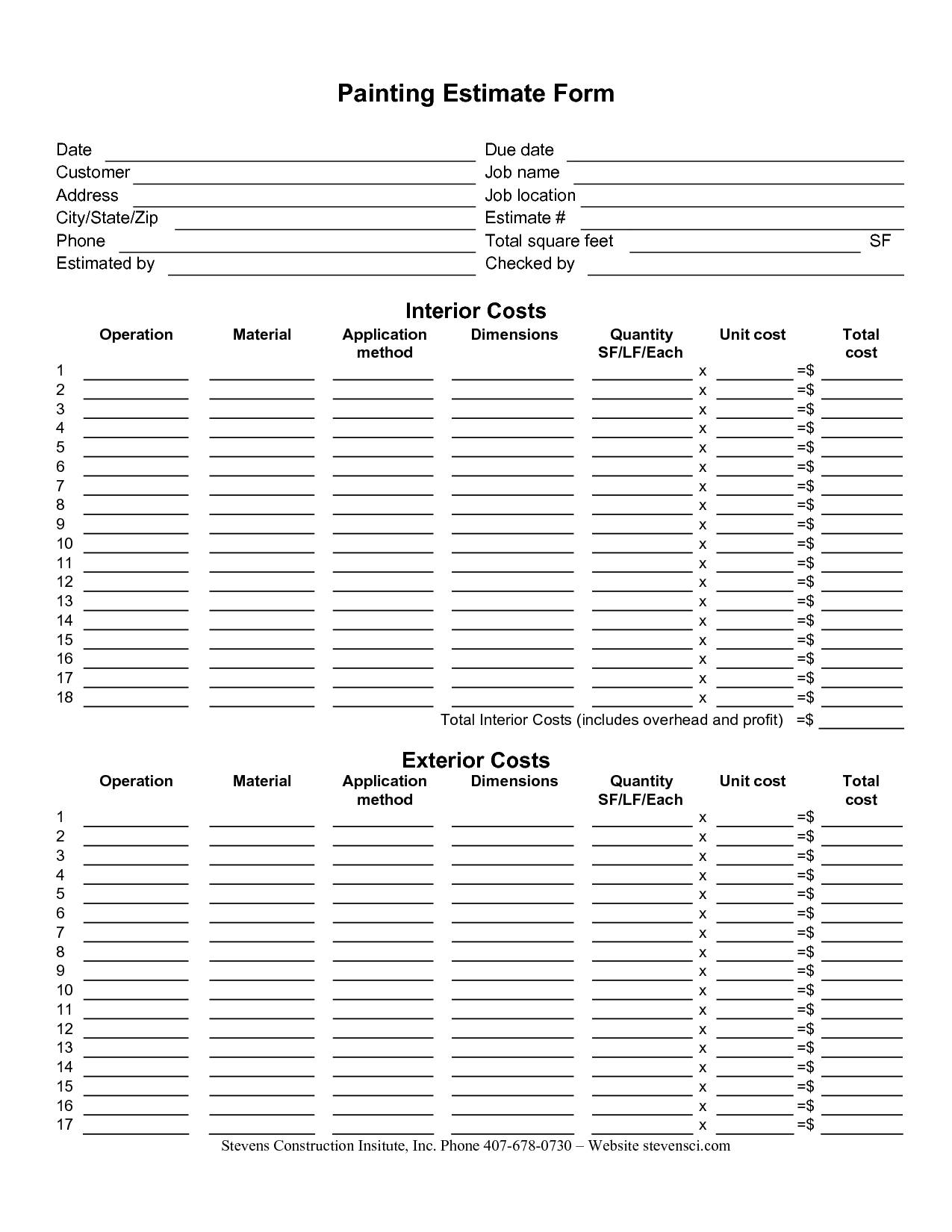Job Estimate Template Open Office