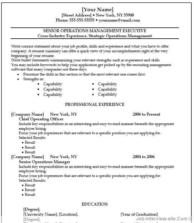 Job Resume Templates Microsoft Word 2007