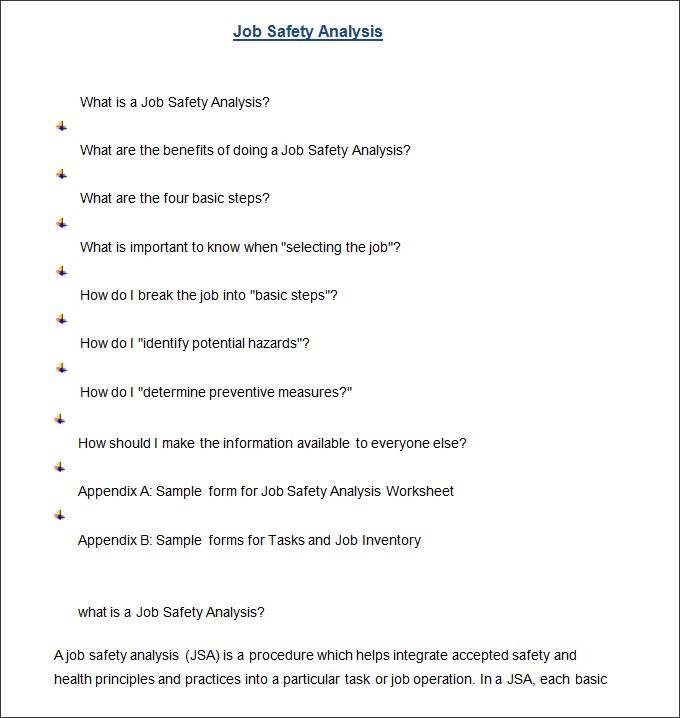 Job Safety Analysis Template Doc