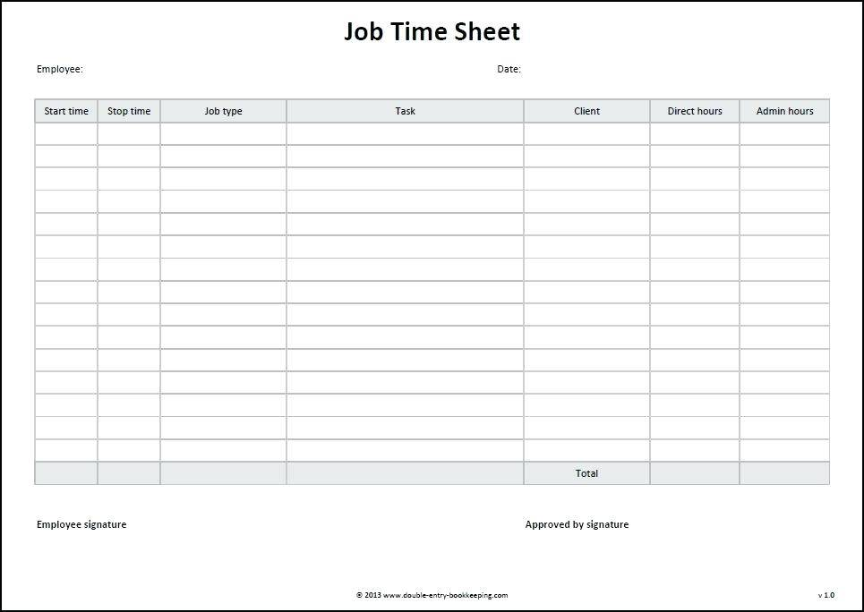 Job Time Sheet Form