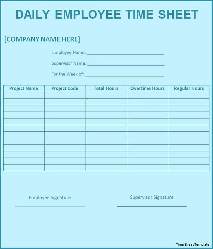 Job Timesheet Template Excel