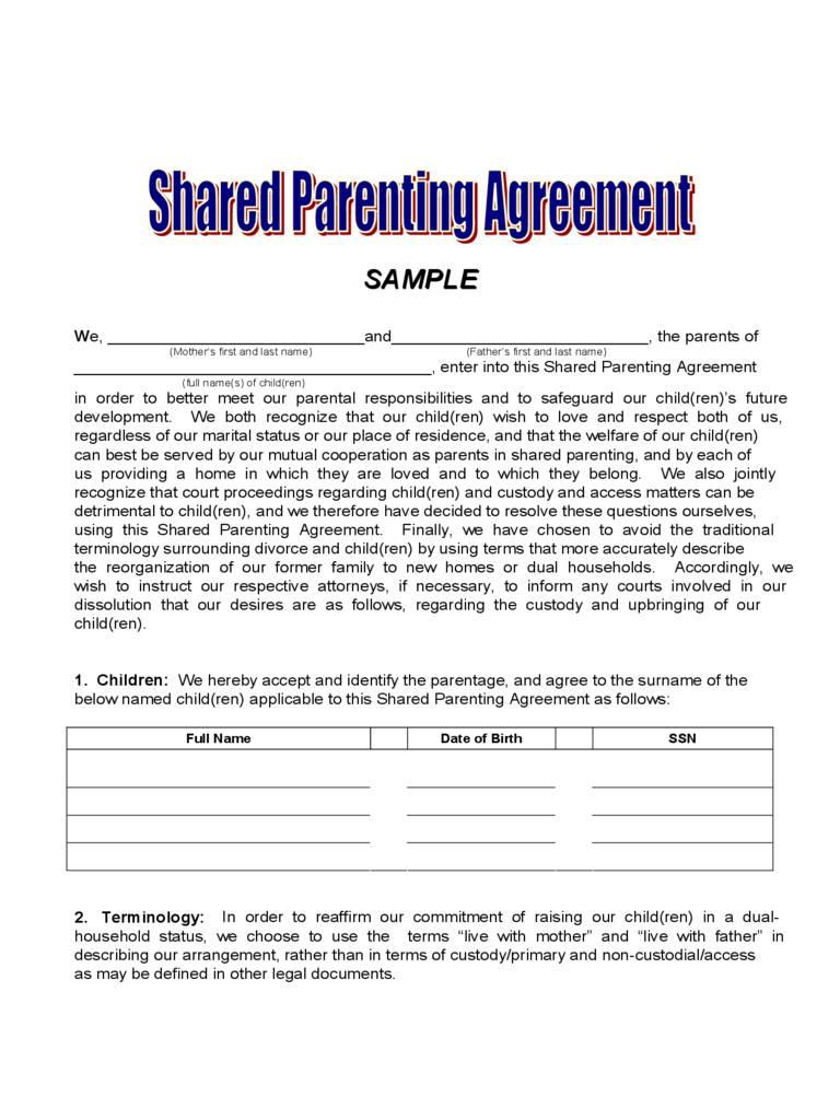 Joint Custody Agreement Form