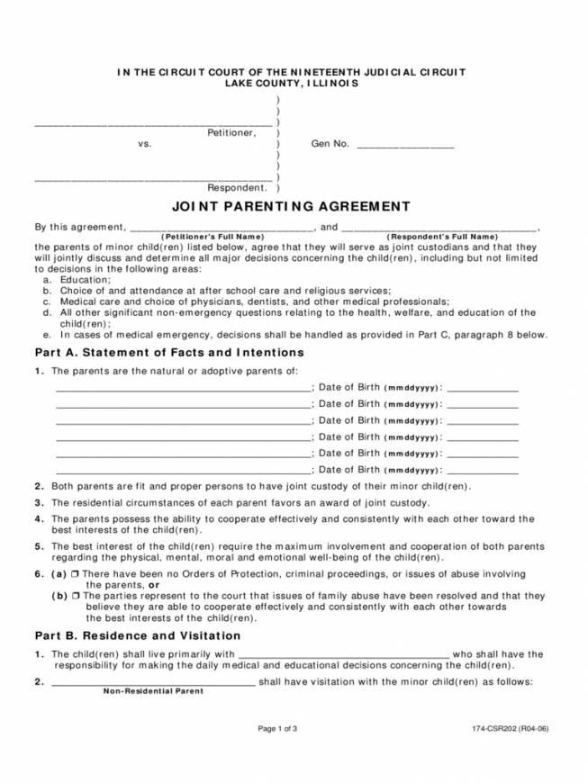 Joint Custody Agreement Forms Illinois