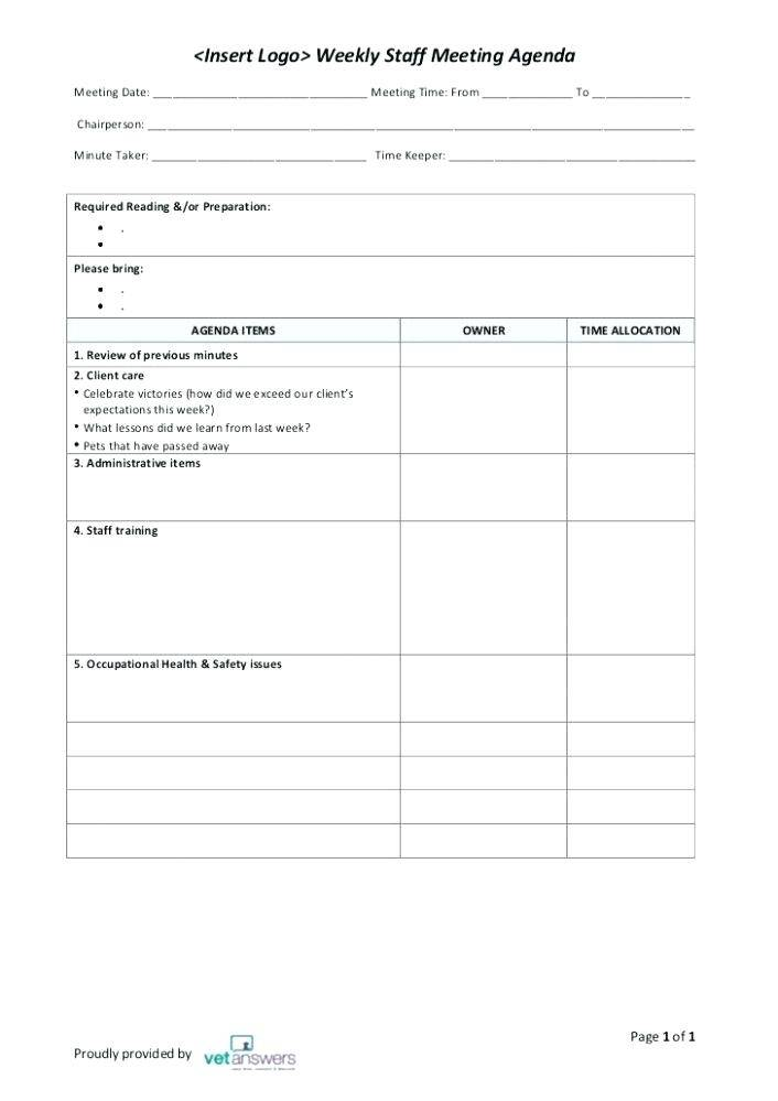 Joint Health And Safety Committee Meeting Minutes Template