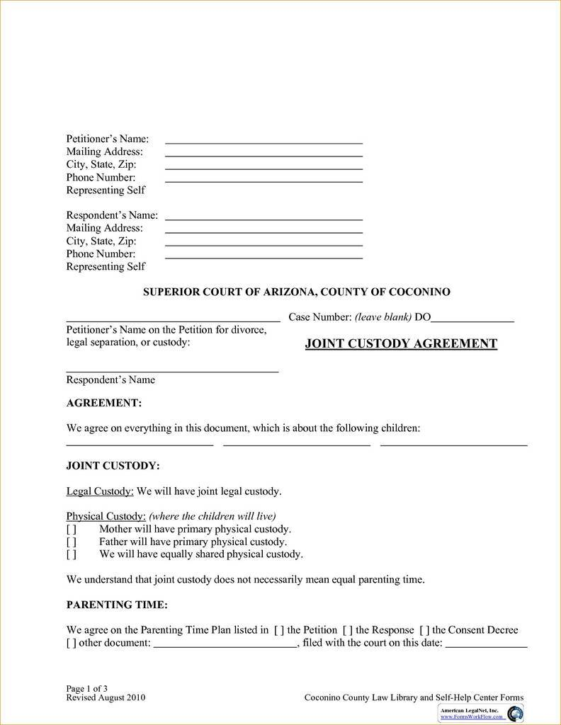 Joint Legal Custody Agreement Forms