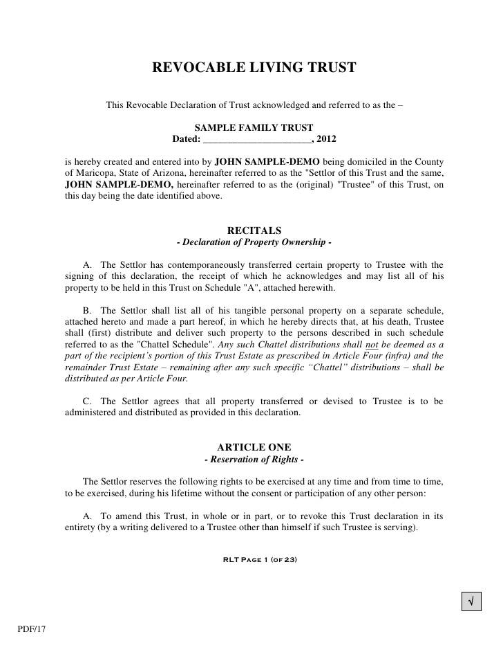 Joint Revocable Trust Template