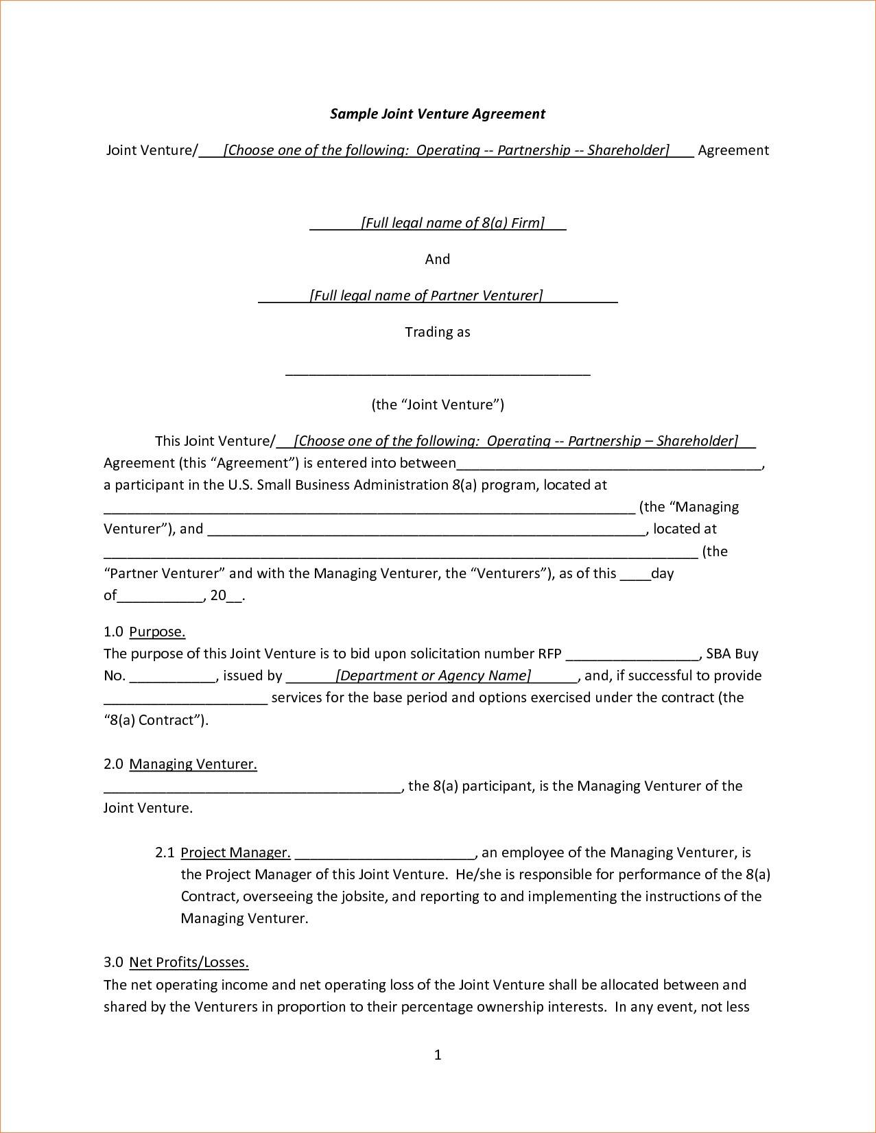 Joint Venture Agreement Template Nz