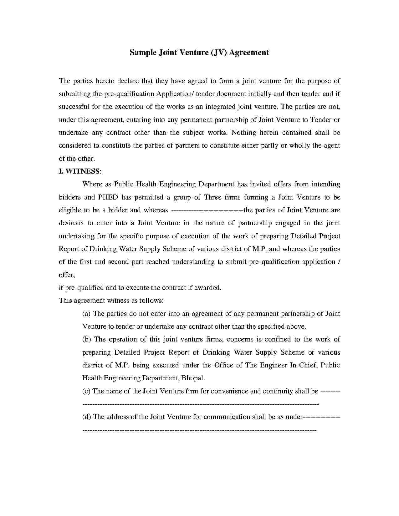 Joint Venture Agreement Templates Free Download