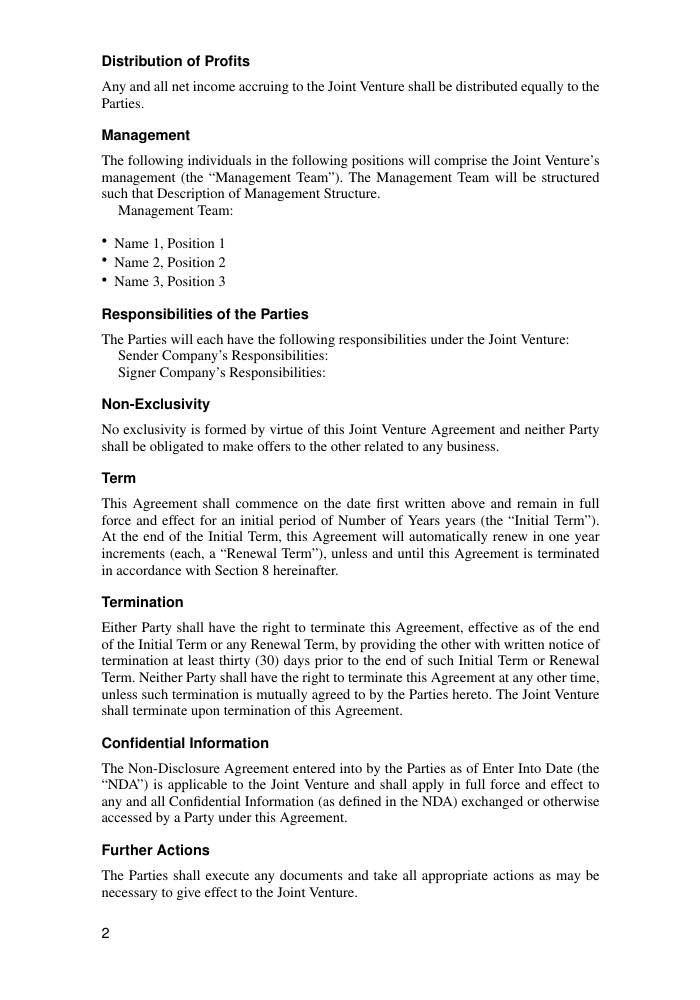 Joint Venture Agreements Template