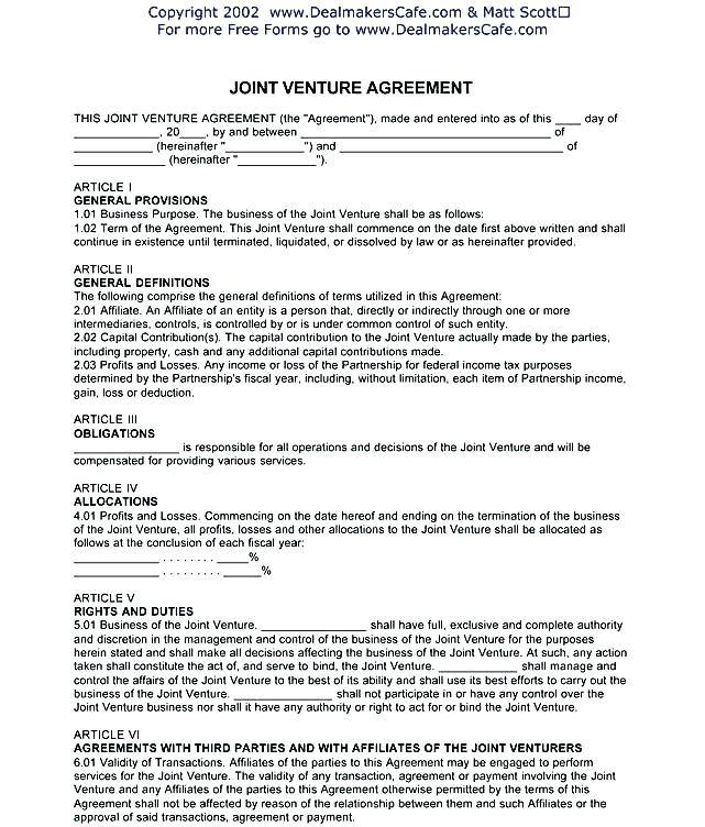 Joint Venture Contract Template Uk
