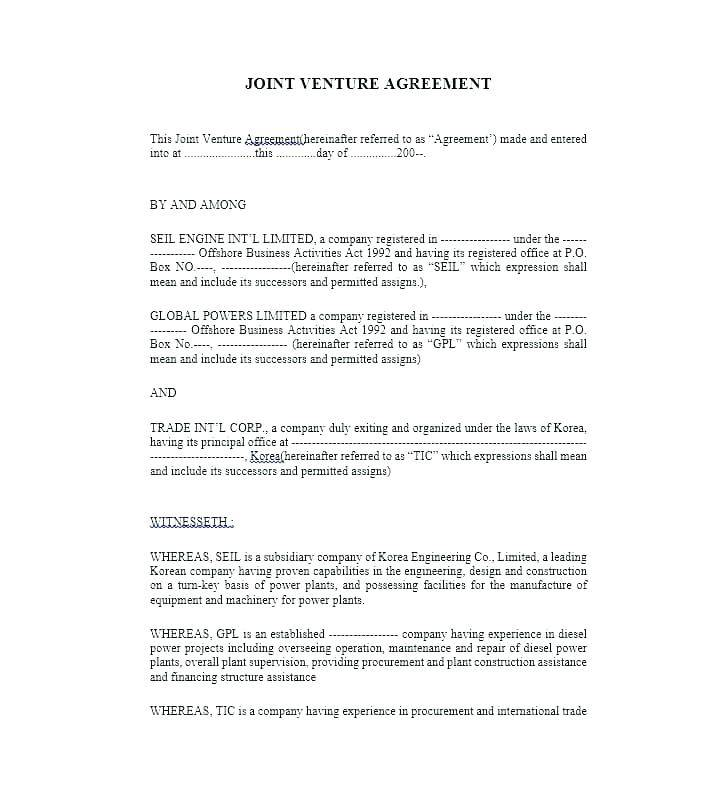 Joint Venture Partnership Agreement Template