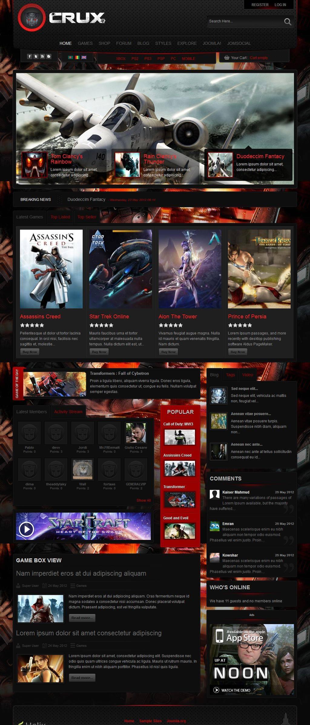 Joomla 3 Gaming Templates Free