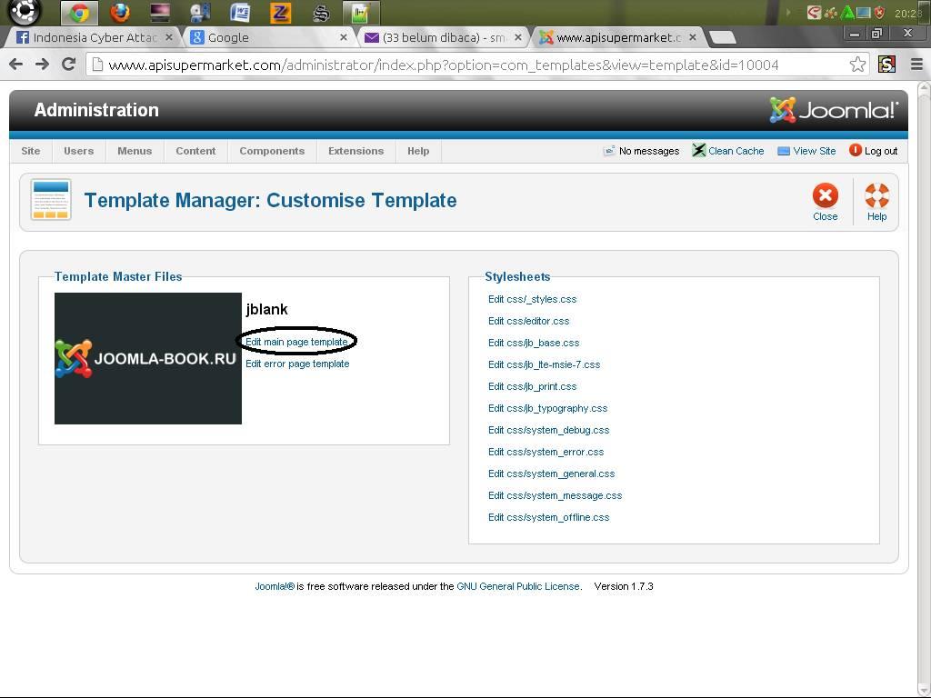Joomla Change Template Editor