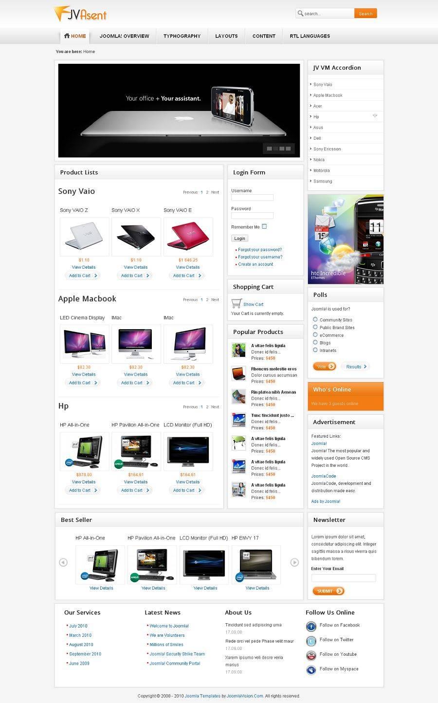 Joomla Shopping Cart Template
