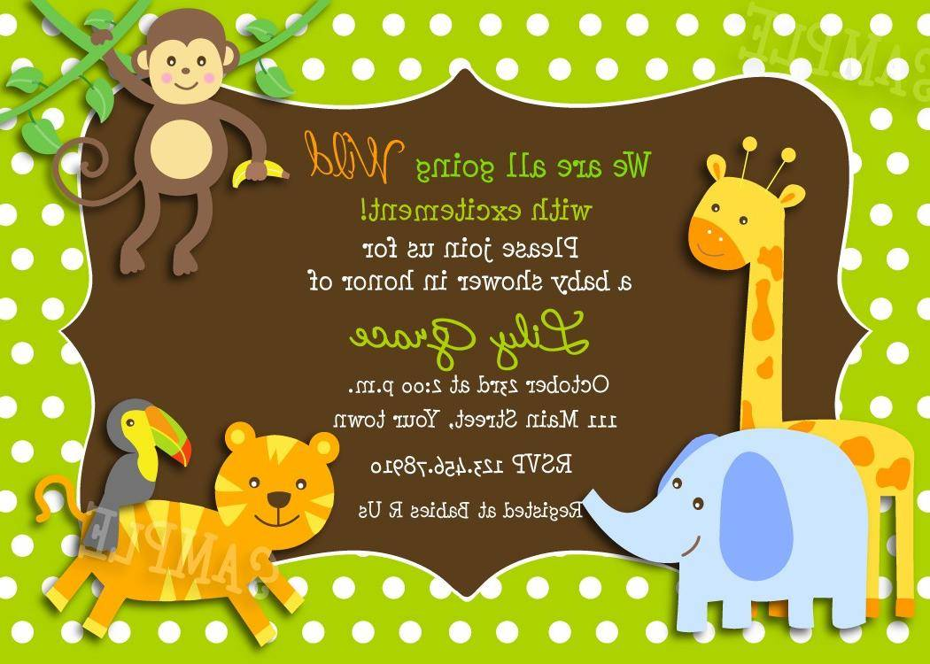 Jungle Animal Baby Shower Invitation Templates