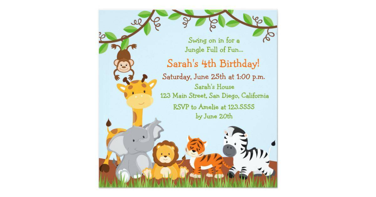 Jungle Birthday Invitation Template