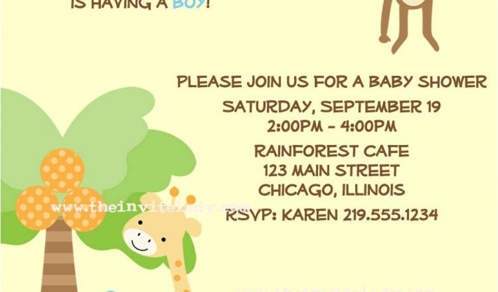 Jungle Themed Baby Shower Invitation Wording