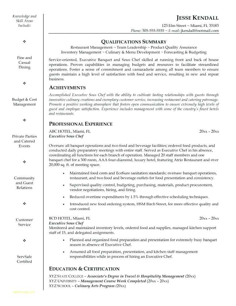 Junior Sous Chef Cv Template