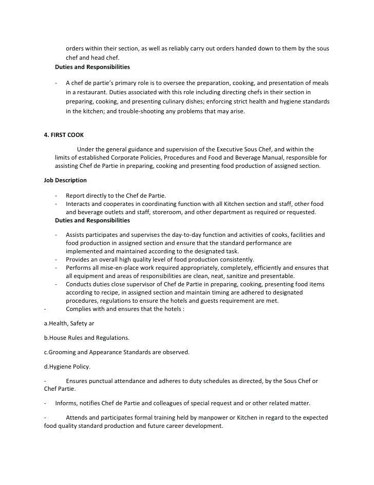 Junior Sous Chef Job Description Template