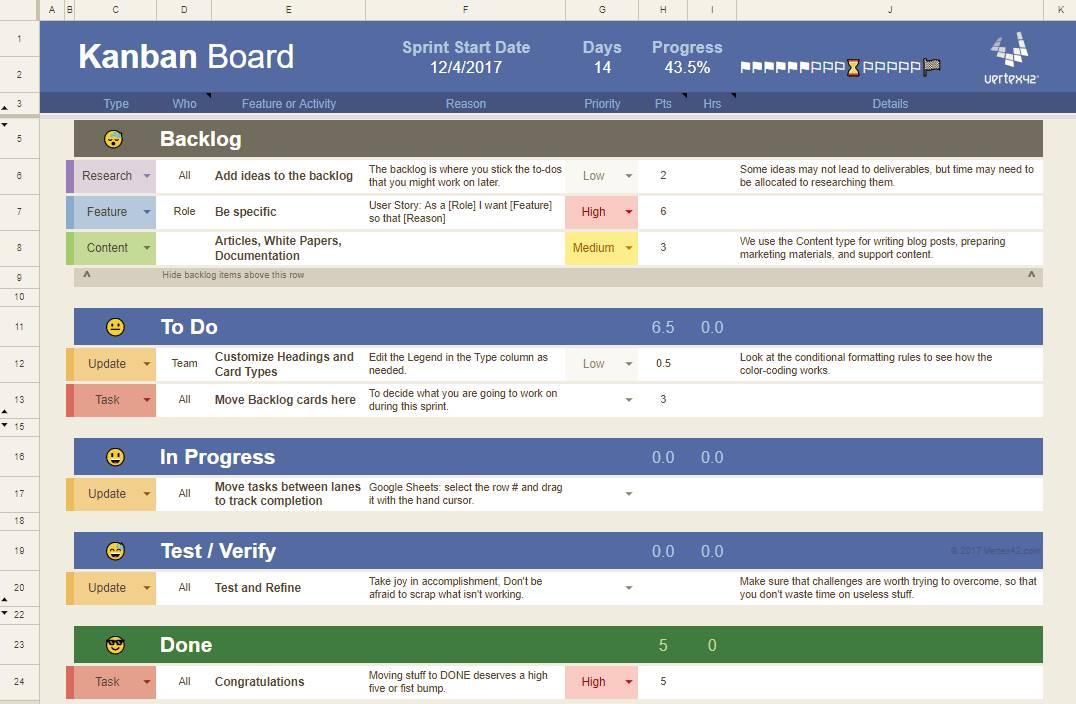 Kanban Excel Spreadsheet Template