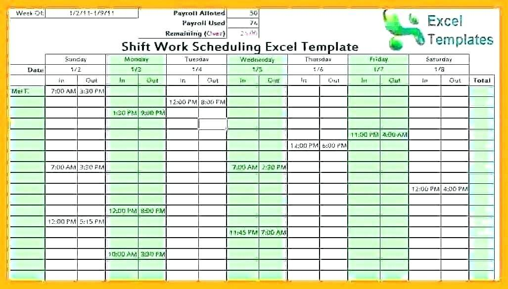 Kelly Shift Schedule Template Excel