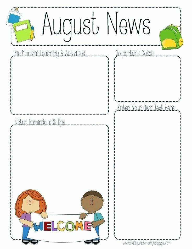 Kindergarten Monthly Newsletter Template