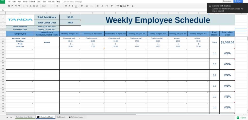 Kitchen Schedule Template Google Docs