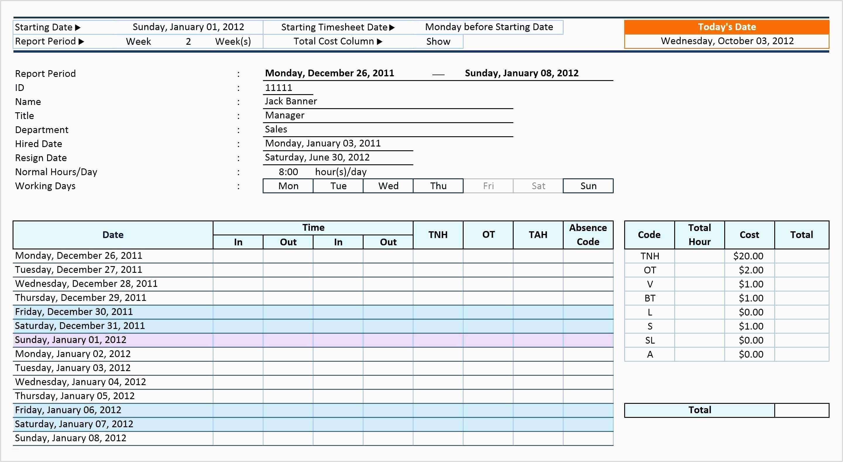 Kitchen Work Schedule Template