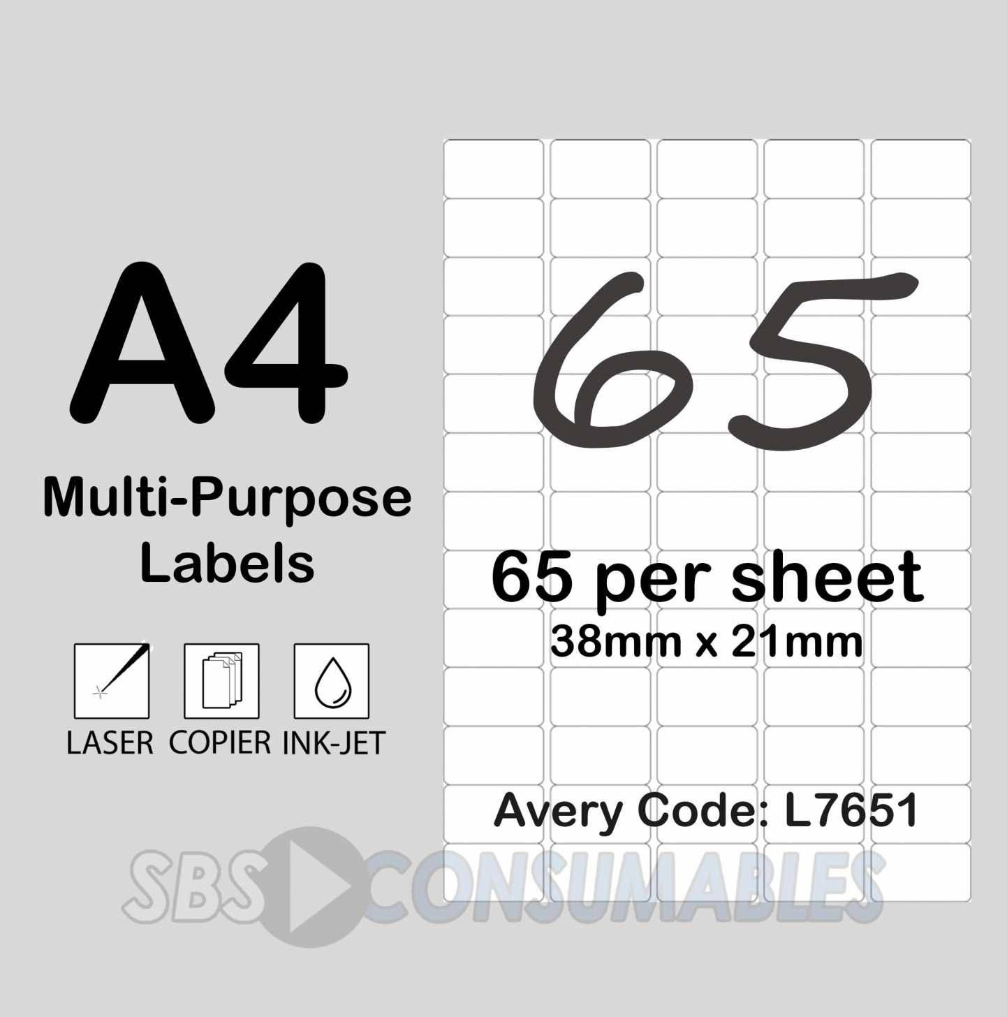 Label Printing Template 65 Per Sheet