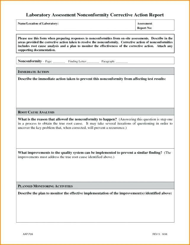 Laboratory Corrective Action Form Template