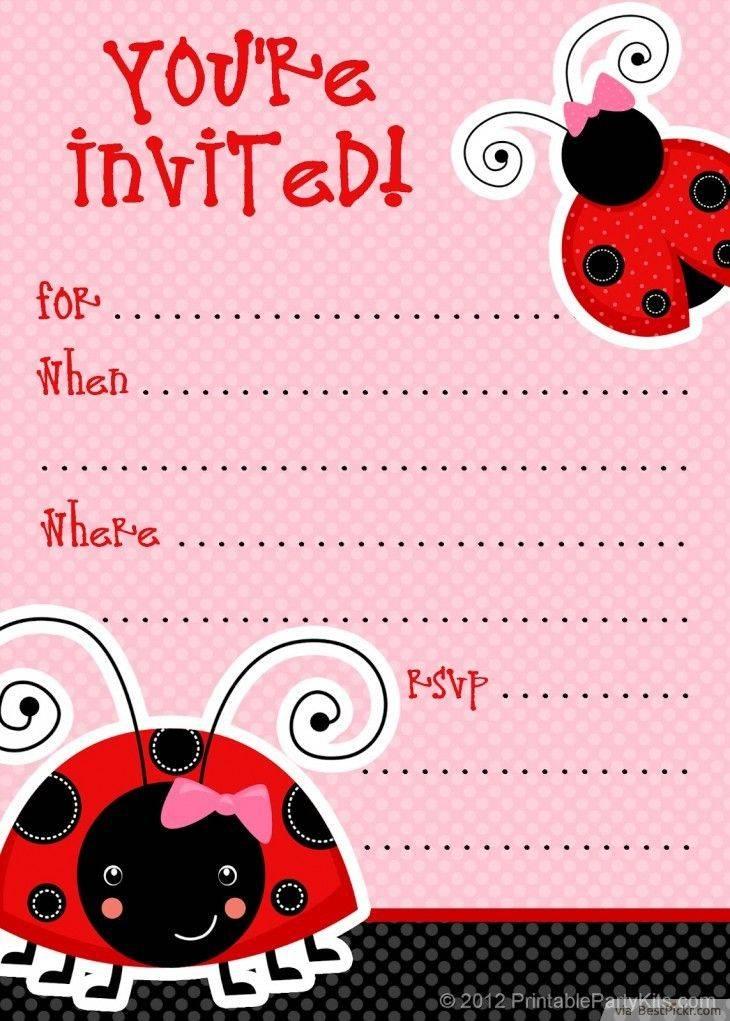 Ladybug Birthday Invitations Free Template