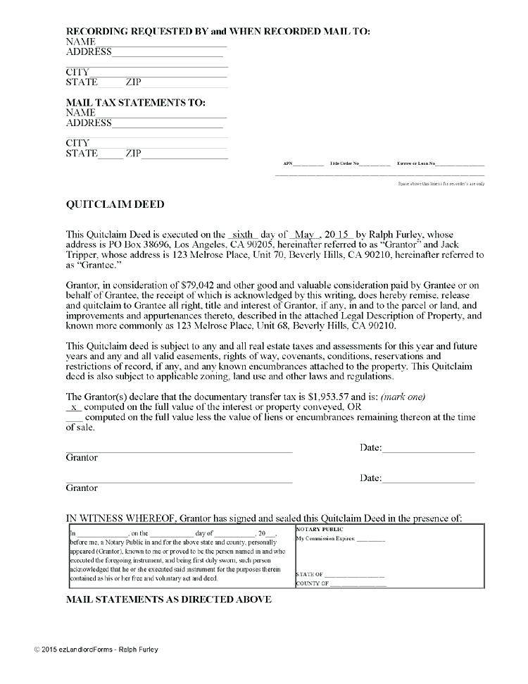 Lake County Florida Quit Claim Deed Form
