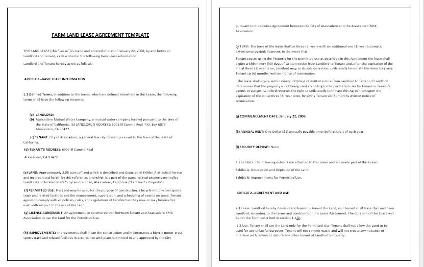 Land Agreement Template