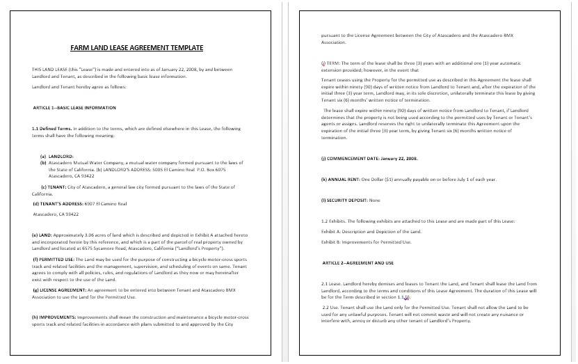 Land Lease Template Free