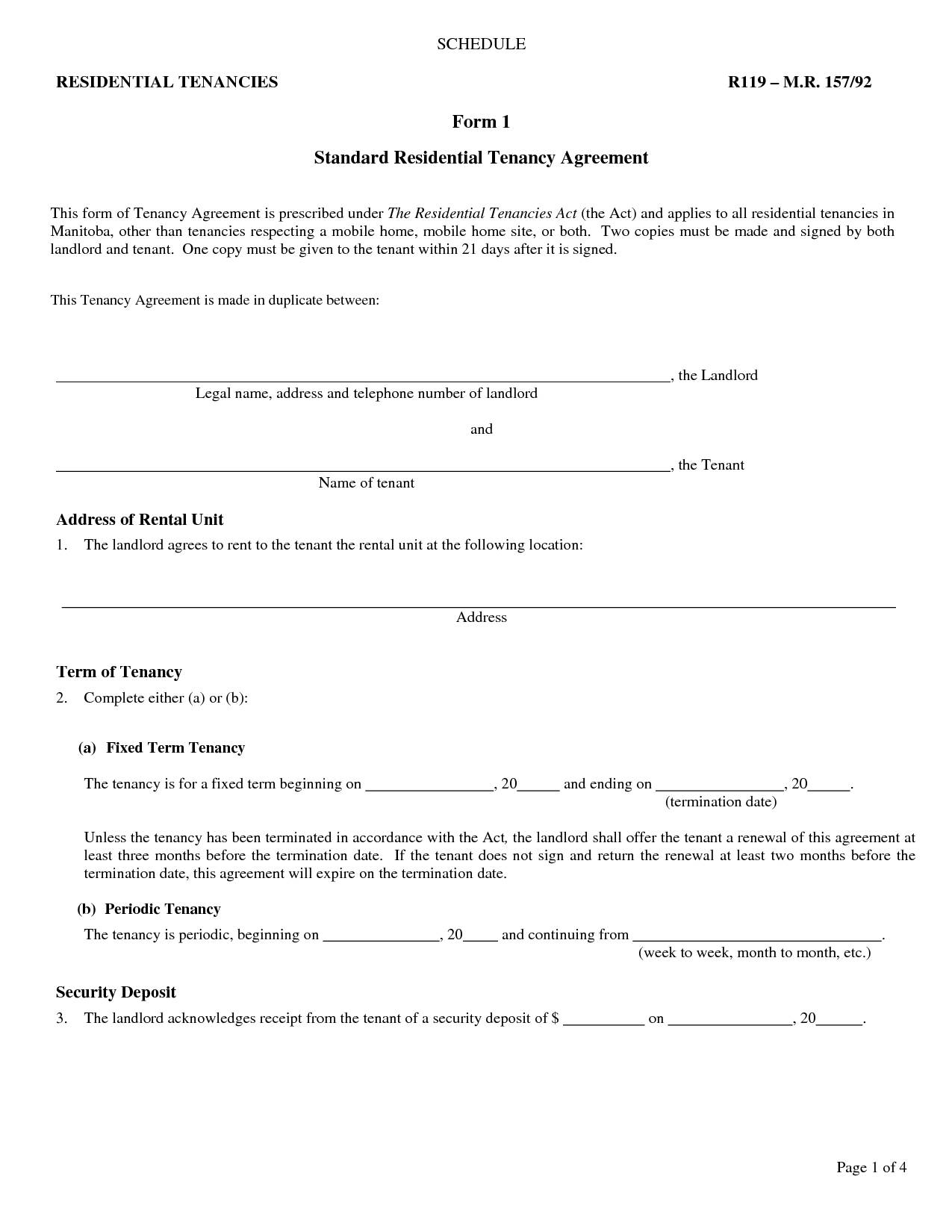 Landlord Lease Agreement Form Free
