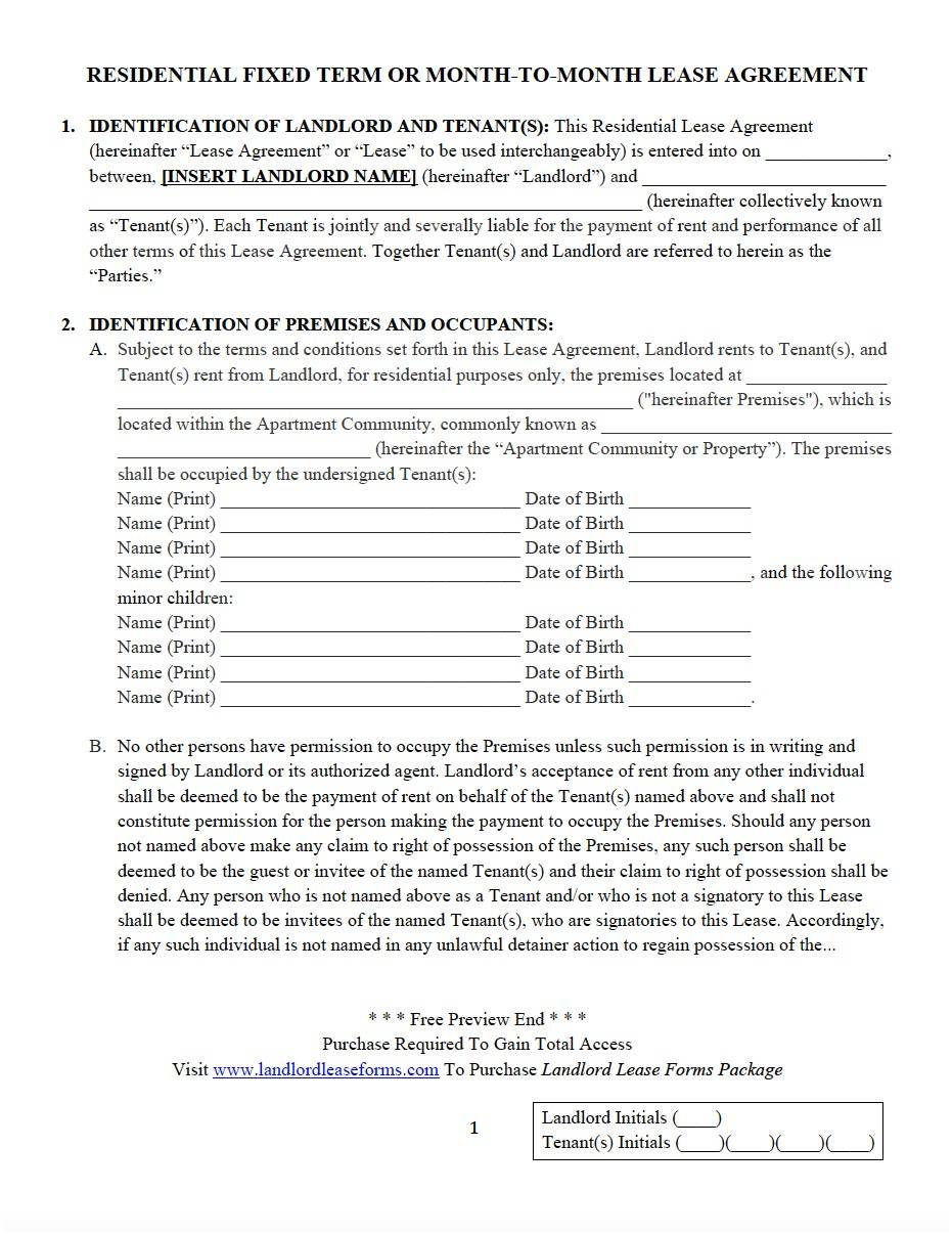 Landlord Lease Documents