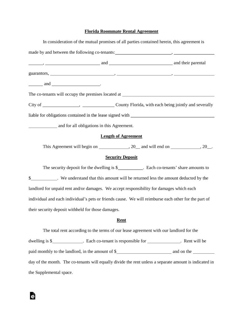 Landlord Roommate Lease Agreement Template