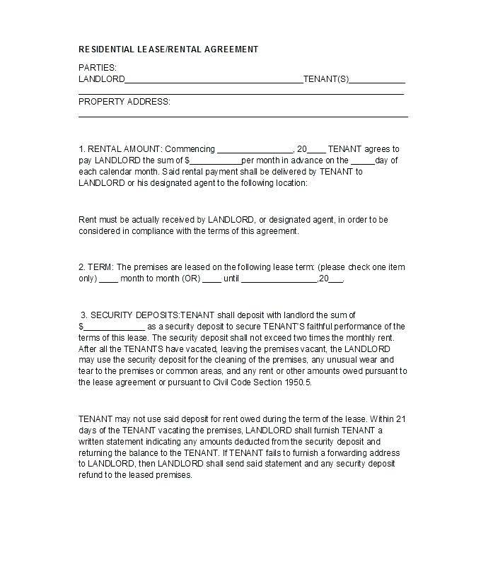 Landlord Tenant Agreement Form Uk