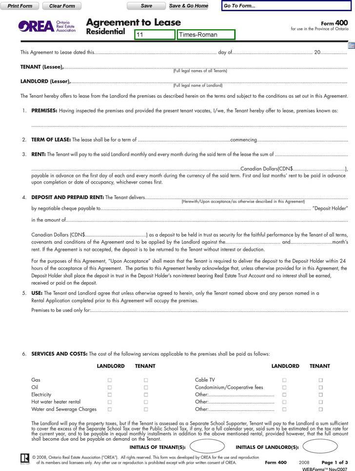 Landlord Tenant Rental Agreement Form Ontario