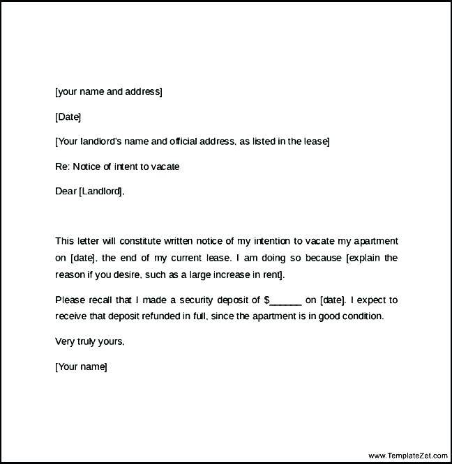 Landlord Termination Of Tenancy Letter Template