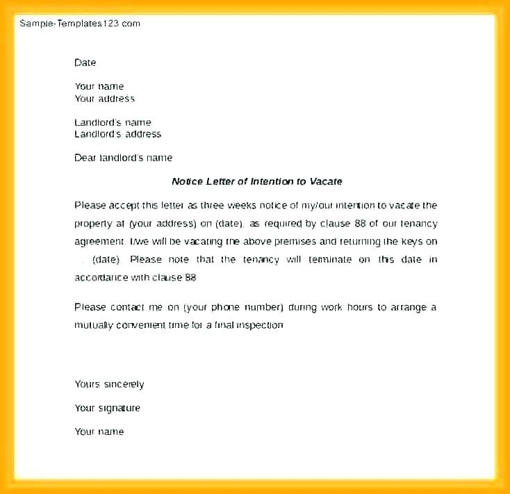 Landlord To Tenant Notice To Vacate Sample Letter