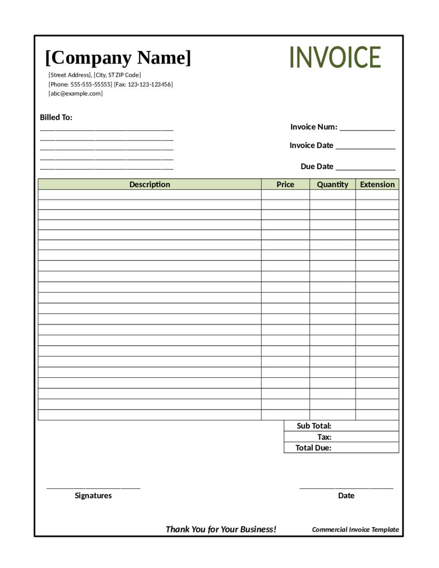Landscape Business Invoice Template