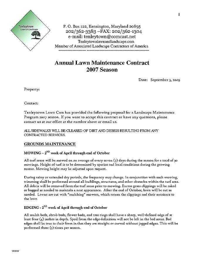 Landscape Design Contract Template