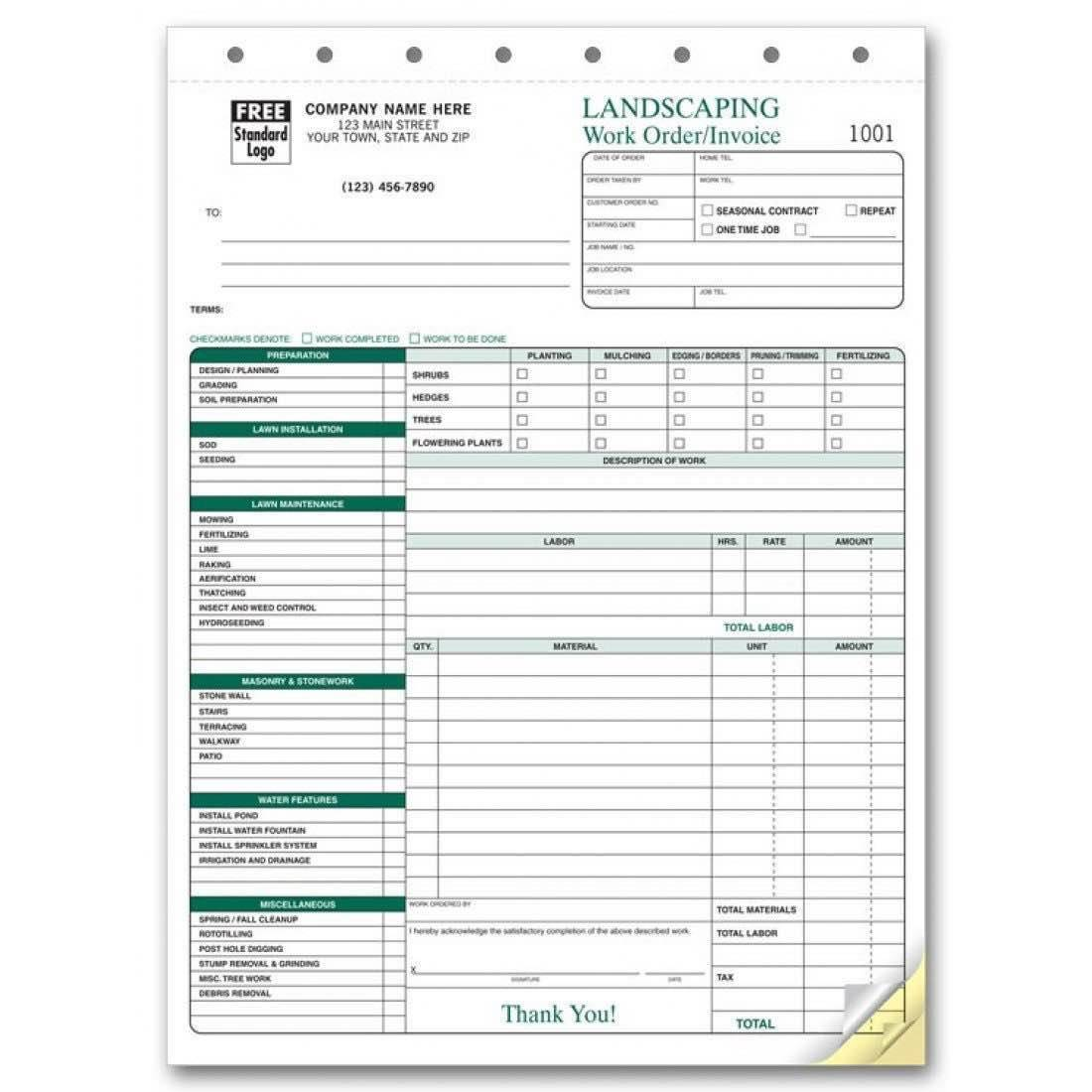 Landscape Job Estimate Template