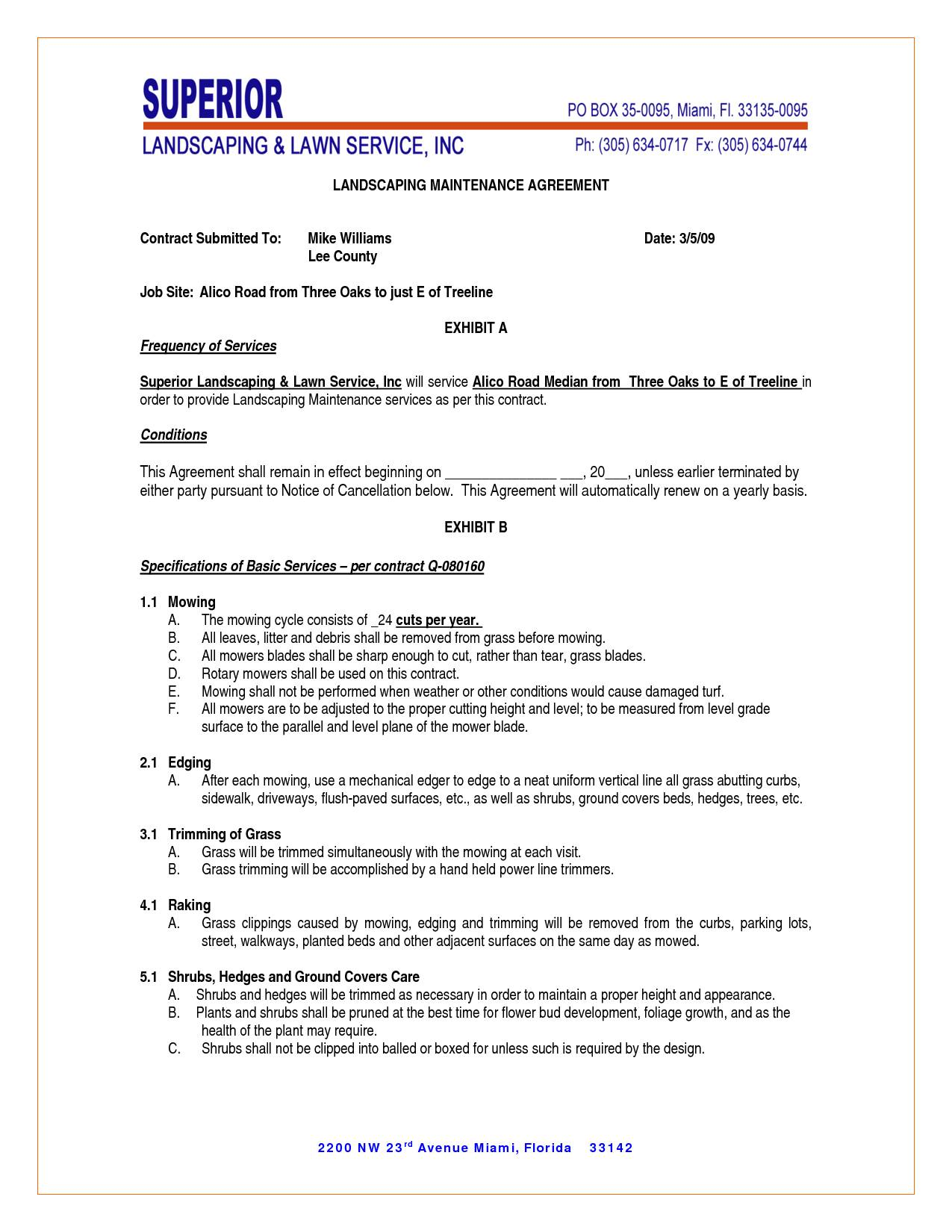 Landscape Maintenance Agreement Contract