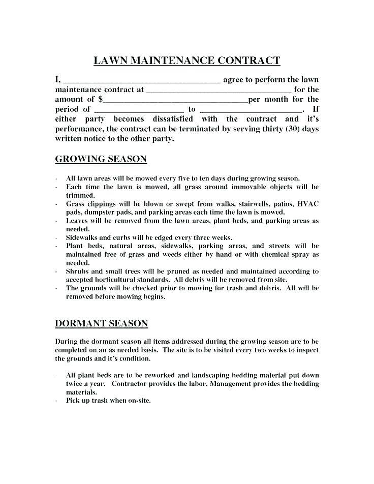 Landscape Maintenance Contract Example