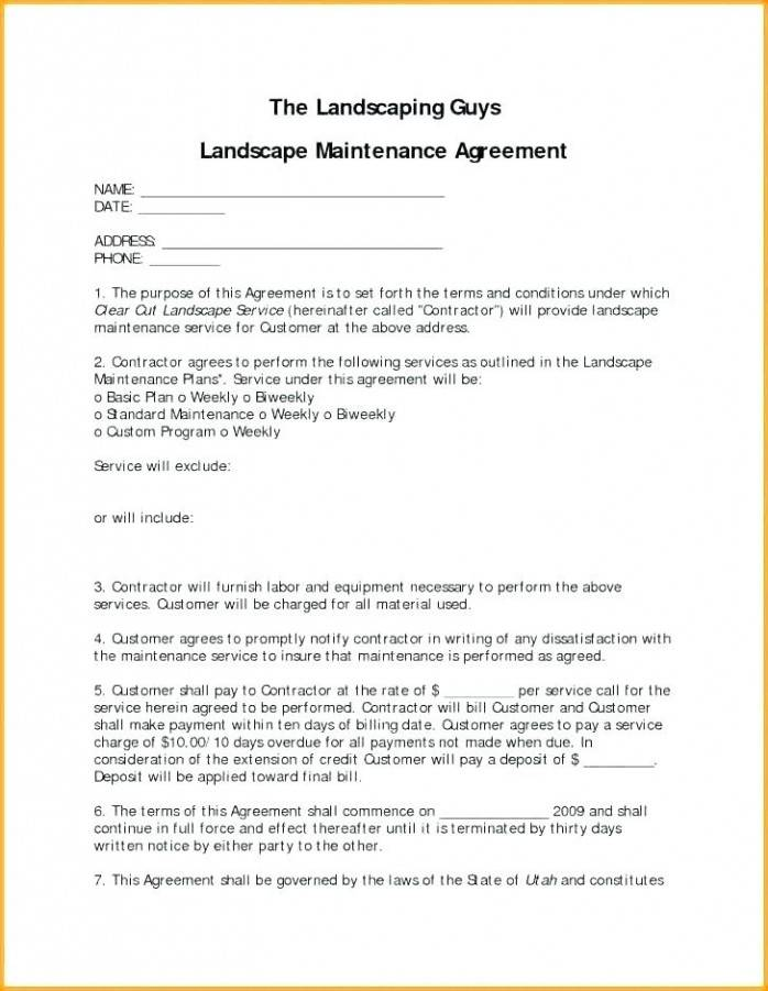 Landscape Maintenance Contract Forms